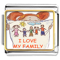 "Italian Charms - girl holding pillow drawing whole family "" i love family""  photo celebration italian charms photo italian charm Image."