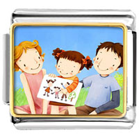 Italian Charms - family parents daughter drawing photo celebration italian charm bracelet photo italian charm Image.