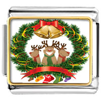 Italian Charms - christmas rudolph reindeers xmas wreath bell photo holiday italian charm photo italian charm Image.