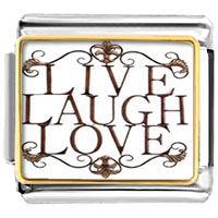 Live Laugh Love Flower Pattern Fictional Characters Italian Charms Photo Italian Charm