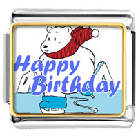 Italian Charms - happy birthday bear skiing photo celebration italian charm bracelet photo italian charm Image.