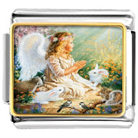 Italian Charms - angel theme playing cute animals photo italian charm Image.