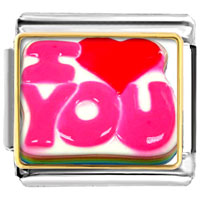 Italian Charms - 18 k gold plated i love you heart photo charm photo italian charm Image.