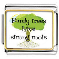 Italian Charms - 18 k gold plated family tree of life love photo charm photo italian charm Image.