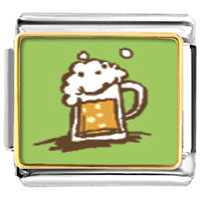 Italian Charms - frothy beer food italian charms bracelet link photo italian charm Image.
