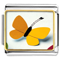 Items from KS - big yellow butterfly animals italian charms bracelet link photo italian charm Image.