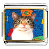 Italian Charms - striped cat animal photo italian charms bracelet link Image.