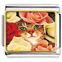 Italian Charms - cat bouquet animal photo italian charms bracelet link Image.