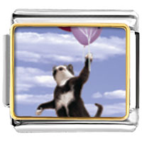 Italian Charms - cat with balloons animal photo italian charms bracelet link Image.