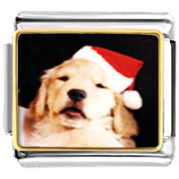 Italian Charms - santa claus christmas gift puppy animal photo italian charms bracelet link Image.