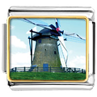 Italian Charms - old new windmill italian charms bracelet link photo italian charm Image.