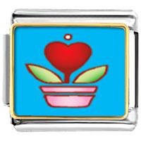 Italian Charms - heart plant photo italian charm bracelet Image.
