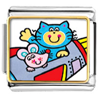 Italian Charms - cat and mouse cartoon animal photo italian charms bracelet link Image.