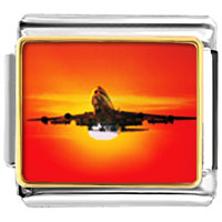 Italian Charms - sunset airplane italian charms bracelet link photo italian charm Image.