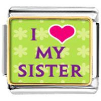 I Heart My Sister Italian Charm Bracelet