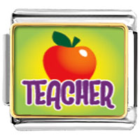 Teacher Apple Italian Charms Bracelet Link