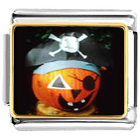 Italian Charms - jack o lantern halloween pumpkin pirate charm photo italian charm Image.