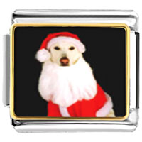 Italian Charms - santa claus christmas gift dog animal photo italian charms bracelet link Image.