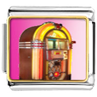 Italian Charms - rock ' n'  roll jukebox musical italian charms bracelet link photo italian charm Image.