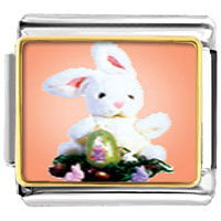 Items from KS - easter bunny and egg italian charms bracelet link photo italian charm Image.