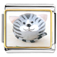 Italian Charms - puffball grey stripes cat animal photo italian charms bracelet link Image.