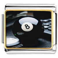 Italian Charms - eight ball sports italian charms bracelet link photo italian charm Image.