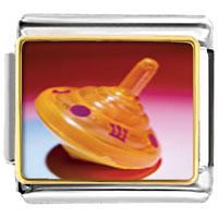 Items from KS - bracelet plastic orange dreidel religious italian charms link photo italian charm Image.