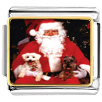 Italian Charms - dogs on santa' s lap animal photo christmas italian charms bracelet link photo italian charm Image.