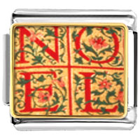Italian Charms - noel quilt square christmas italian charms bracelet link photo italian charm Image.