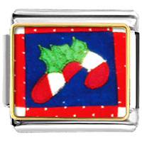 Italian Charms - halloween candy cane quilt square italian charms bracelet link christmas gift photo italian charm Image.