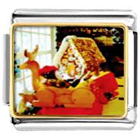 Italian Charms - cozy gingerbread house christmas food italian charms bracelet link photo italian charm Image.