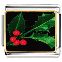 Italian Charms - holly leaf christmas italian charms bracelet link photo italian charm Image.