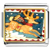 Italian Charms - christmas rudolph reindeer stamp animal photo italian charms bracelet link Image.