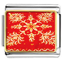 Italian Charms - embroidered red cloth christmas italian charms bracelet link photo italian charm Image.