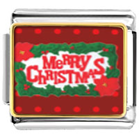 Italian Charms - merry christmas and holly italian charms bracelet link photo italian charm Image.