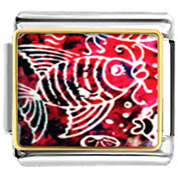 Italian Charms - fish on red animal photo italian charms bracelet link Image.