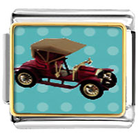 Items from KS - miniature antique car italian charms bracelet link photo italian charm Image.