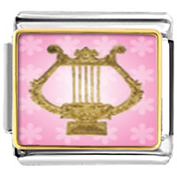 Italian Charms - golden lyre musical italian charms bracelet link photo italian charm Image.