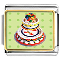 Italian Charms - tiered birthday cake food italian charms bracelet link photo italian charm Image.