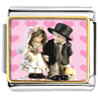 Italian Charms - little bride &  groom italian charms bracelet link photo italian charm Image.
