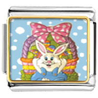 Italian Charms - animal photo easter basket &  bunny italian charms bracelet link photo italian charm Image.