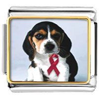 Italian Charms - breast cancer awareness puppy wearing red pink ribbon animal photo italian charms bracelet link Image.