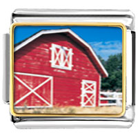 Italian Charms - red barn italian charms bracelet link photo italian charm Image.