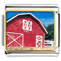 Italian Charms - red barn italian charms bracelet link photo italian charm Image.