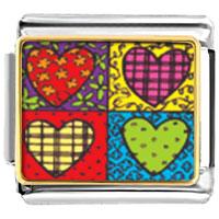 Heart Quilt Photo Italian Charm Bracelet