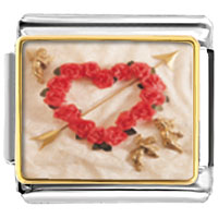 Italian Charms - rose heart wreath with arrow italian charm bracelet photo italian charm Image.