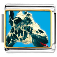 Items from KS - giraffe with tongue animal photo italian charms bracelet link Image.