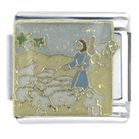 Bible Story The Good Shephard Italian Charms Bracelet Link X2 Italian Charm