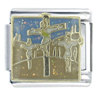 Bracelet Bible Story The Crucifixion Religious Italian Charms Link X2 Italian Charm