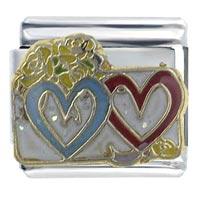 Hearts Love Italian Charm X2  Italian Charm